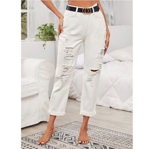 White distressed high rise mom jeans S